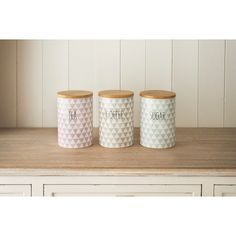 Diamonds Tea - Coffee - Sugar Set - Stylish ceramic storage canisters with air-tight bamboo lids to keep contents fresher for longer