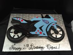 cut out of one large? Motorcycle Birthday Cakes, Motorcycle Cake, Happy 2nd Birthday, Cool Birthday Cakes, Jordan Cake, Titans Football, Fab Cakes, Fantasy Cake, Cupcake Cakes