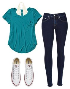 """:)"" by scarlethxmmings on Polyvore featuring Hollister Co., rag & bone and Converse"