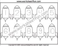 Number Tracing – – Rocket – One Worksheet / FREE Printable Worksheets – Worksheetfun Printable Preschool Worksheets, Tracing Worksheets, Kindergarten Worksheets, Free Printables, Numbers Preschool, Free Preschool, Preschool Activities, Writing Numbers, Alphabet And Numbers