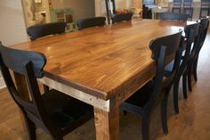 "8' L x 45"" W Farmhouse Dining Table with a traditional, boarded top in our Vintage Early American stain with a Satin sheen.   harvest table, dining table, rustic dining table, wood table, solid wood customize"