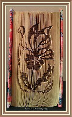 Butterfly resting on a flower. Book Folding Pattern by JHBookFoldPatterns on Etsy