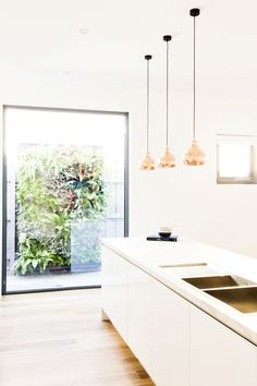 Totally wanting this vertical garden!! + those copper pendant lights! Bec & George