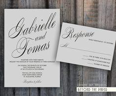 Printable Elegant and Modern Template Wedding Invitation Set - Custom colors - DIY Wedding - Digital files. $12,50, via Etsy.
