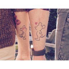 Our symbol to us, part of you a part of me to make one us! Mickey Tattoo, Mickey Mouse Tattoos, Disney Tattoos, Mickey Minnie Mouse, 25th Birthday, Matching Tattoos, Couple Tattoos, Henna, Body Art