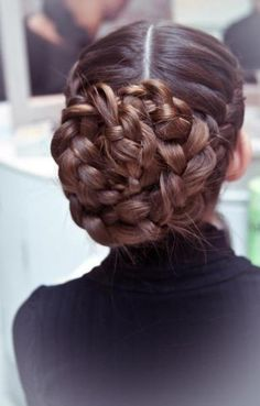 two french side braids + major braid bun.  gorgeous!