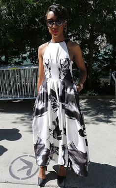 Nicole Harris from New York Fashion Week Spring 2015 Street Style  Behold: The perfect summer to fall maxi dress.