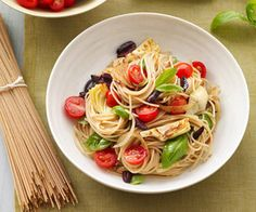 Whole-Wheat Pasta With Artichokes, Olives, and Tomatoes: Make a bowl of healthy whole-wheat pasta with artichokes, olives, and tomatoes — this classic flavor combo is always a winner! Source