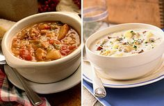 """""""You think the rivalry between Manhattan clam chowder and New England clam chowder (sometimes called Boston clam chowder) isn't as serious as Yankees–Red Sox or Rangers-Bruins? Consider this: in 1939, a bill was introduced in the Maine legislature to make it illegal to add tomatoes to chowder.""""     New York versus New England clam chowder...one of the reasons I moved north. (However, I will never be a Red Sox fan!)"""