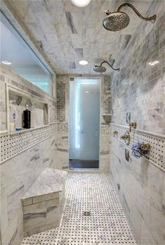 Creative Master Bathroom Shower Remodel Ideas - How long has it been since your bathroom was remodeled? We become so accustom to rooms we visit every day that we don't even notice how worn out and t. Dream Bathrooms, Beautiful Bathrooms, Modern Bathrooms, Small Bathrooms, Double Shower Heads, Master Bathroom Shower, Master Bathrooms, Farmhouse Bathrooms, Shower Rooms