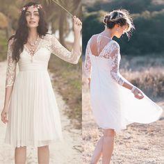 2015 Lace bohemian Wedding Dresses under 100 Long Sleeves Short Bridal Gowns vestidos de novia cortos HarveyBridal bh0001