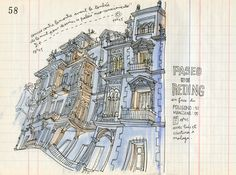 Paseo de Reding #art #sketch #drawing #watercolor #illustration #town #home #architecture #houses