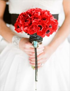 Western Red Poppies | Exquisite Wedding Bouquet - LOVE