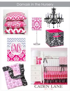 Luxury Damask Baby Bedding ‹ Caden LaneCaden Lane - love the bright pink damask baby bedding with the POP of color and ruffle crib skirt #babybedding #damask #cadenlane