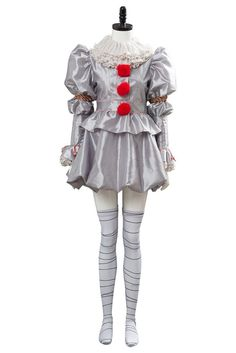 IT Pennywise the Clown Cosplay Costume For Women Movie: IT Character: Pennywise Including: Dress + neck + socks + tie hands Fabric: Lining, chiffon, mesh Pennywise The Clown, Costumes For Teens, Girl Costumes, Cosplay Costumes, It Costume, Costume Ideas, Girl Halloween Makeup, Clown Halloween Costumes, Gowns