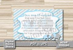 Baby Shower Insert Card Bring a Book Instead by DigitalitemsShop
