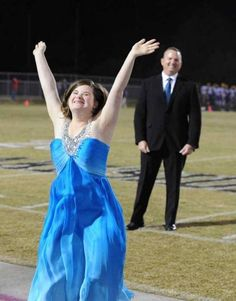 This is Jessica Giddens. She was announced Homecoming Queen at her school in Georgia. Jessica has Downs Syndrome. Her father is a retired colonel who served in Afghanistan and, as you can see, is on top of the world to escort her to the game. Hope this made you smile.  :-)