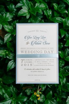 Dusty blue classic wedding invitation with ribbon // Secret Garden: Adam and Yee Ling's Wedding at Lewin Terrace