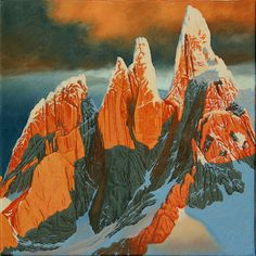 """Cerro Torre, Torre Eggar and Cerro Stanhardt, from the West. Oil on canvas, 10"""" x 10"""". 2011."""