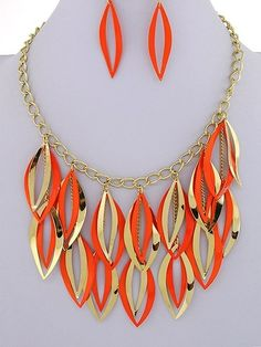 Chunky Gold Tone Orange Color Statement Bib Costume Jewelry Earring Necklace Set