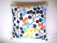 """Blue Pillow Cover - White Linen with Blue, Turquoise, Yellow, Orange Circles Print for Home Decor - 18x18"""" - Gift for Her - Ready to Ship on Etsy, $18.00"""