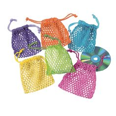 Mesh Neon Drawstring Bags - OrientalTrading.com