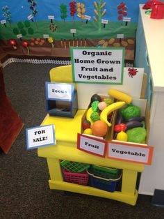 4 years to 5 years 11 months Role play( fruit and vegetable farm and shop) Recourses : different plastic veg and fruit, pictures of vegetable and fruits, baskets