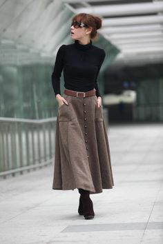 Camel midi skirt with black turtleneck