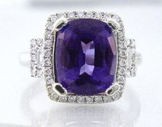 $4,200 Tanzanite & Diamond Ring 5 ct Cushion + .45 ct Diamond Finest Quality in 18K Rarest Quality Genuine Tanzanite, NEW, Sells $10,000+