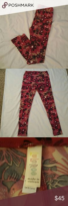 Lularoe floral design TC Pink leggings with black and tan floral design. Tall and curvy style. LuLaRoe Pants Leggings