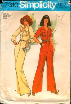 Here's the jumpsuit I made of Chocolate colored doubleknit and gold buttons on the pocket--8th grade home ec! Simplicity 7310 - Vintage Sewing Pattern