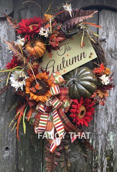 Autumn grapevine wreath,Fall grapevine wreath,Thanksgiving grapevine wreath,Fall decor,Glittered pumpkin,Fall ribbon,fall wooden sign by FancyThatDecor on Etsy https://www.etsy.com/listing/528321230/autumn-grapevine-wreathfall-grapevine