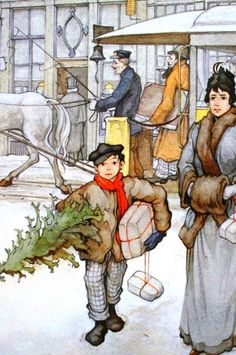 Anton Pieck old fashioned Christmas with tree and carriage