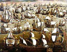Die Schlacht zwischen der Spanischen Armanda und der englischen Flotte