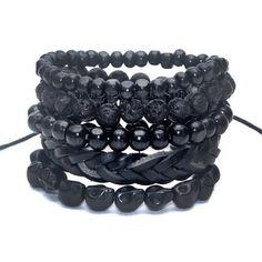 1 Set 4-5 pcs Black Out Bamboo wood, Lava Stone Beads Stone Skull and Pull-Closure Leather Bracelet Men's Fashion Bracelet Pack
