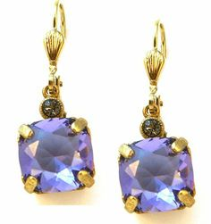 Catherine Popesco 14k Gold Plated Tanzanite Swarovski Crystal Drop Earrings Catherine Popesco. $52.95