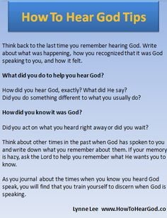 How to hear God tip #1If you'd like more help to hear God check out How To Hear God on Amazon