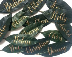 Gold Leaves - Beautiful and Creative Wedding Place Card Ideas - Photos