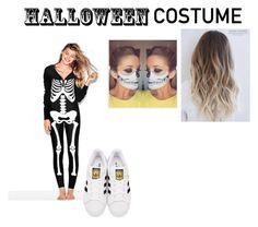 """Skeleton costume in onesie"" by dianamarierg on Polyvore featuring adidas Originals, halloweencostume and DIYHalloween"