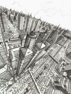 This pencil drawing has shown an accurate representation of a two point perspective. Perspective drawings allows people to see the context surrounding a certain building or the general atmosphere of a particular city/neighbourhood. Perspective 3 Points, Perspective Sketch, Drawing Lessons, Drawing Techniques, Art Lessons, Drawing Step, Perspective Architecture, Architecture Art, City Drawing