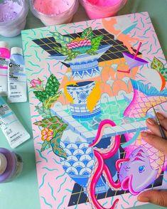Posca Marker, Marker Art, Art Journal Inspiration, Art Inspo, Shading Drawing, Posca Art, Artist Sketchbook, Gouache Painting, Diy Art