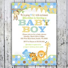 boy baby shower invitations | Baby Shower Invitations, Jungle Animal Theme, Printable Invite for Boy ...