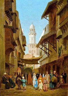 Wedding procession - El Gamaliya Street  By Louis-Emile Pinel de Grandchamp  Oil on canvas , 65cm x 46 cm