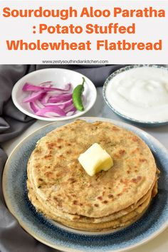 Delicious sourdough aloo paratha wholewheat flatbread with spicy potato filling. Wholesome meal of any time. Artisan Bread Recipes, Easy Bread Recipes, Pastry Recipes, Easy Sourdough Bread Recipe, Best Bread Recipe, Delicious Breakfast Recipes, Yummy Food, Dinner Recipes, Breakfast Dishes