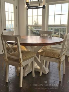 Stunning Handmade Rustic Round Farmhouse Table By ModernRefinement - Round farm table with leaf