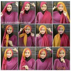 Kreasi Cara Memakai Hijab Modern Paris Kombinasi Dua Warna terakhir Di Dettiku
