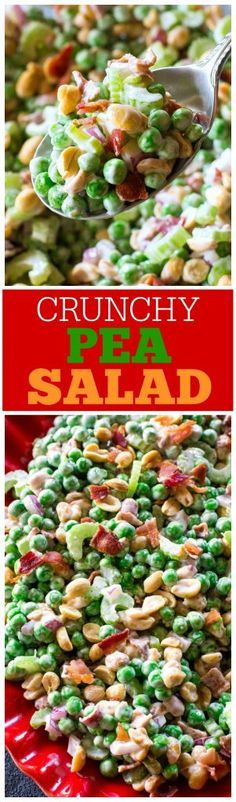 Crunchy Pea Salad - I know it sounds weird but trust me, it\'s good! Peas. nuts, bacon, celery...all for a refreshing salad. the-girl-who-ate-everything.com