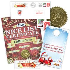 Nice List Certificate with Door Hanger From Santa Santa List, Nice List, Santa Letter, Certificate, Hanger, Packaging, Letters, Christmas, Xmas