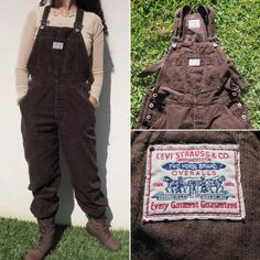 Levi's brown corduroy overalls unisex vintage / dungarees jumpsuit levi strauss original retro button up work clothing straight leg Dungarees, Overalls, Levi Strauss & Co, Vintage Levis, Corduroy, Button Up, Jumpsuit, Unisex, Legs