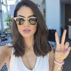 Haha (The shades are Ray Ban Clubmaster Wo. Haha (The shades are Ray Ban Clubmaster Wood Hair Inspo, Hair Inspiration, Medium Hair Styles, Short Hair Styles, Eyebrow Extensions, Hair Extensions, Corte Y Color, About Hair, Hair Dos